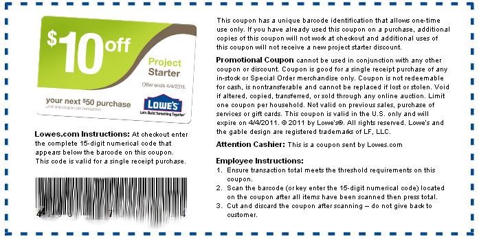 Project starter lowes coupon - Online Store Deals