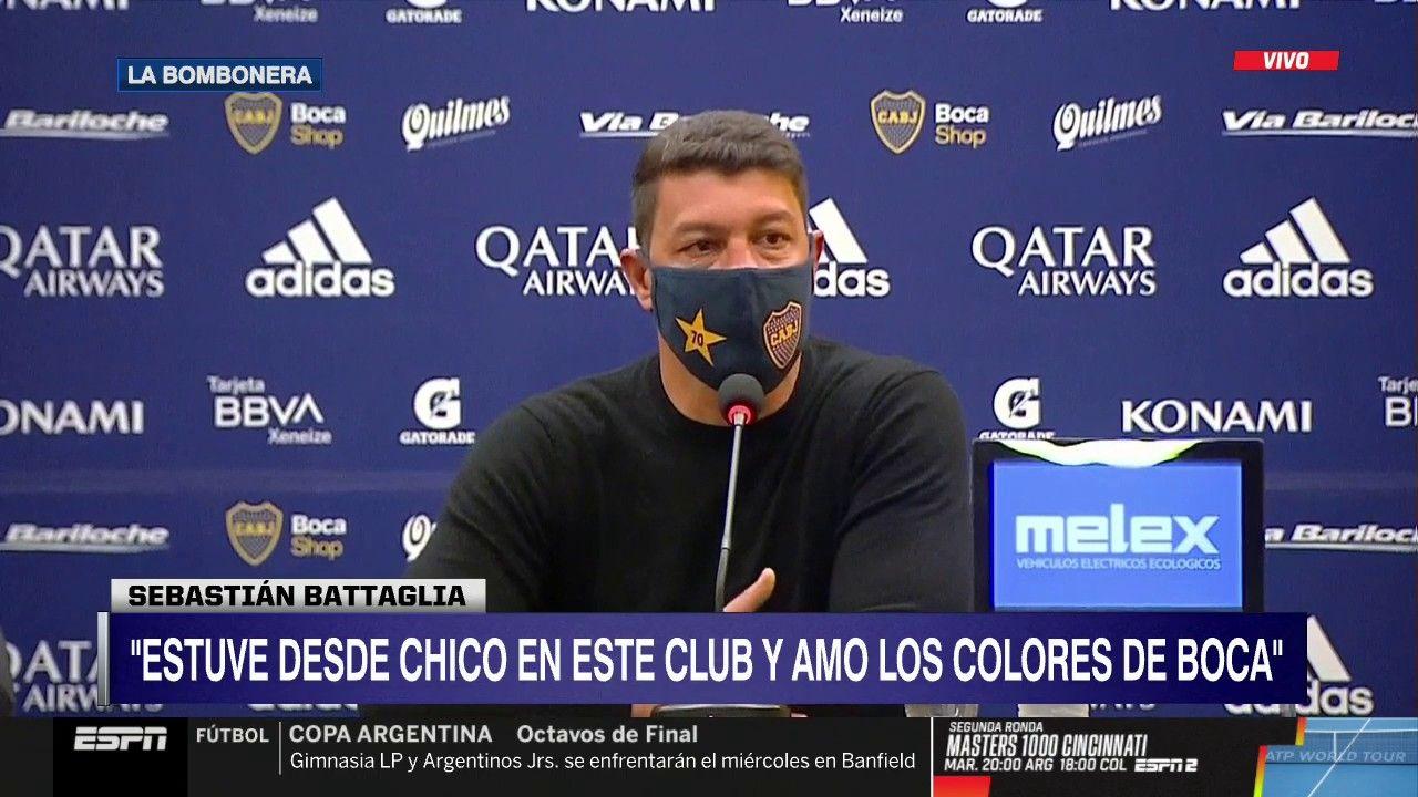 """Sebastián Battaglia fue presentado como nuevo DT de Boca tras la salida de Russo: """"Voy a dar lo mejor para llevar al club al lugar que se merece"""""""