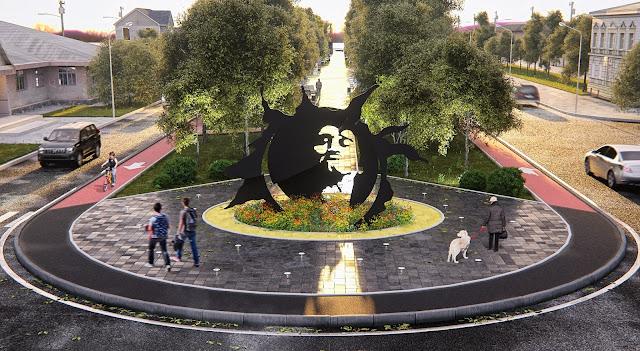 Визуализация 3D модели монументальной композиции В. Цоя