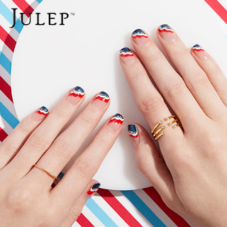 Red, White and Blue Waves Nail Polish Nails