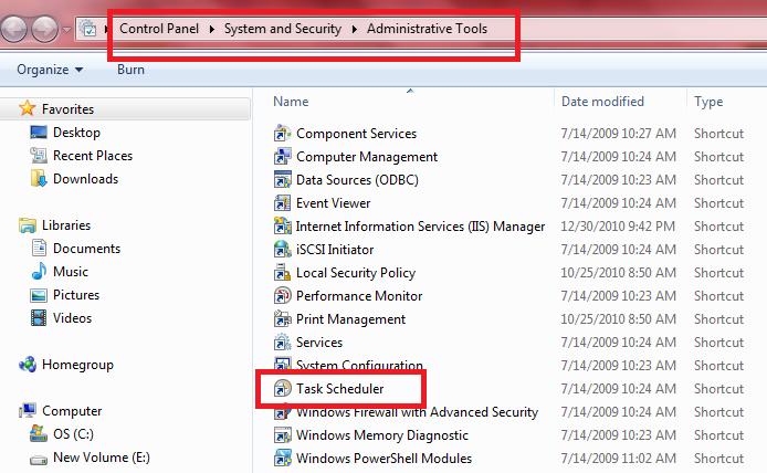 Schedule System Shutdown Automatically in Windows 7 using