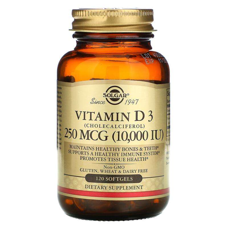 Solgar, витамин D3 (холекальциферол), 250 мкг (10 000 МЕ), 120 капсул