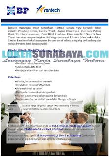 Karir Surabaya Terbaru di CV. Bentang Persada Group (Rantech) Juni 2019