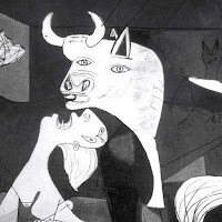 Depiction of bull in Guernica painting by Pablo Picasso, crated in 1937 as a cubist anti war work.