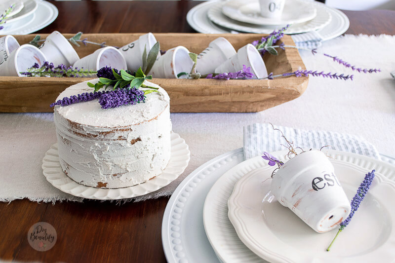 naked faux  cake with lavender