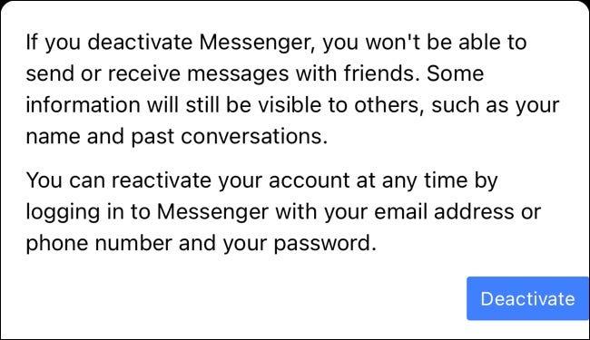 زر إلغاء تنشيط Facebook Messenger