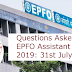 Questions Asked in EPFO Assistant Prelims 2019: 31st July