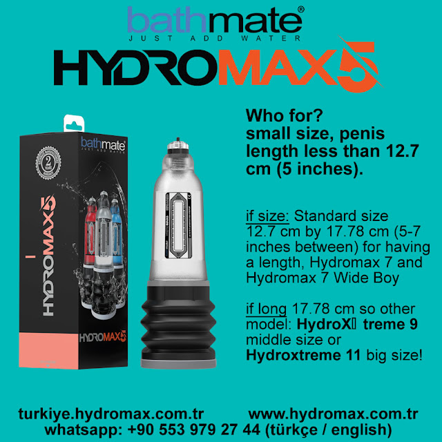 Bathmate Hydromax 5 small size penis pump. Bathmate size chart.