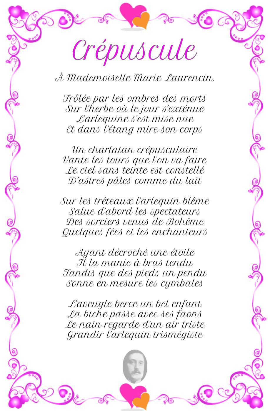 Crépuscule, poème de Guillaume Apollinaire