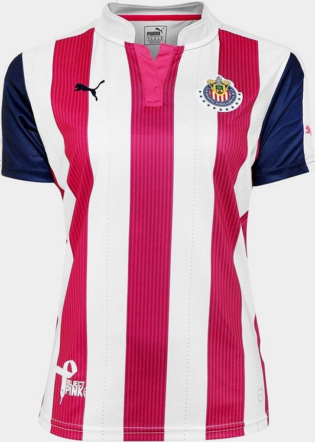 A camisa segue o mesmo padrão que a titular ( veja matéria completa ) com  listras verticais em rosa e branco tendo efeitos como se fossem pinceladas. 8631c39743495