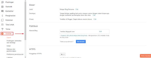 Mengenal Menu-Menu Di Blogger Beserta Fungsinya Dengan Cepat - Menu Setelan Di Blogger