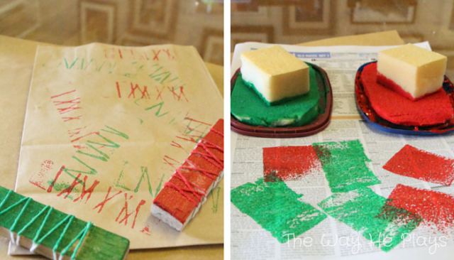 Foam and wooden homemade stampers with red and green paint to make Christmas wrapping paper