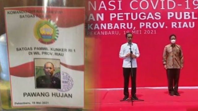 Viral Nametag Petugas Pawang Hujan saat Kunjungan Jokowi ke Riau