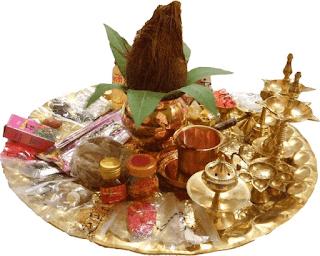 Brass puja thali set with all pooja items