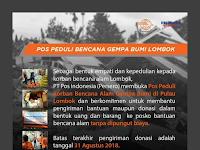 Program Bebas Ongkos Kirim Dari Pos Indonesia Untuk Korban Gempa Lombok