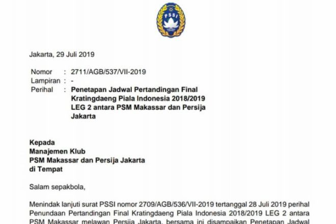 Resmi! Pertandingan Tertunda PSM Vs Persija Digelar 6 Agustus di Mattoangin