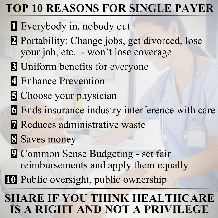 Top 10 Reasons for Single Payer Health Insurance
