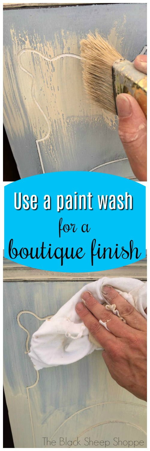 Use a paint wash to create a boutique finish