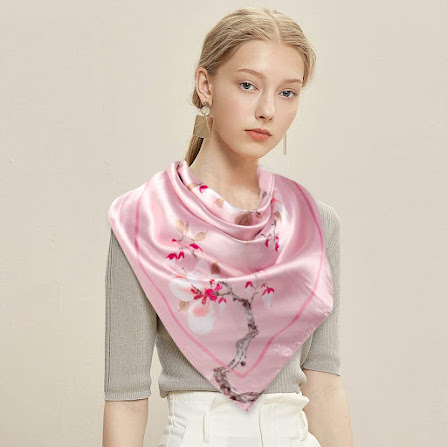 Elegant Pink Silky Satin Scarves