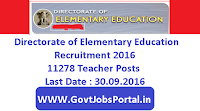 Directorate of Elementary Education Recruitment 2016