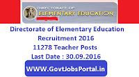 Directorate of Elementary Education Recruitment 2016
