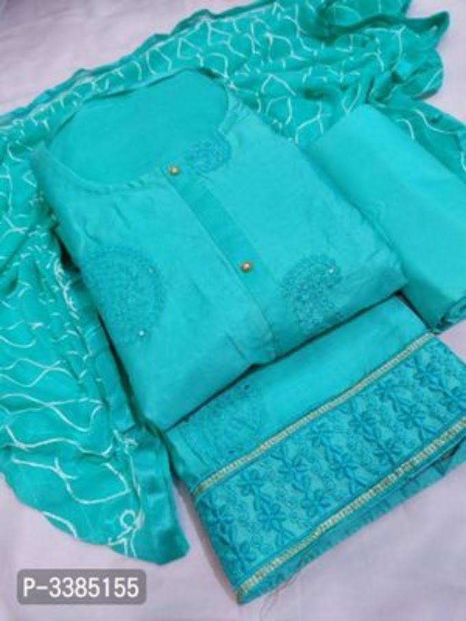 Elegant Glace Cotton Embroidered Dress Material