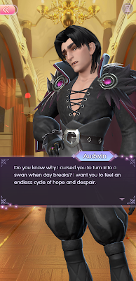 Visual novel screenshot in which Audwin talks about the curse he placed on Aldous