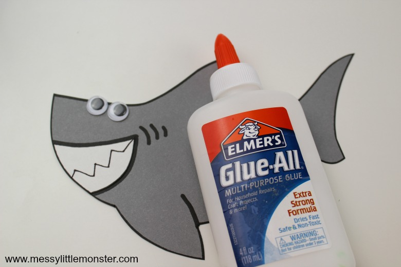 shark craft with free shark printable template