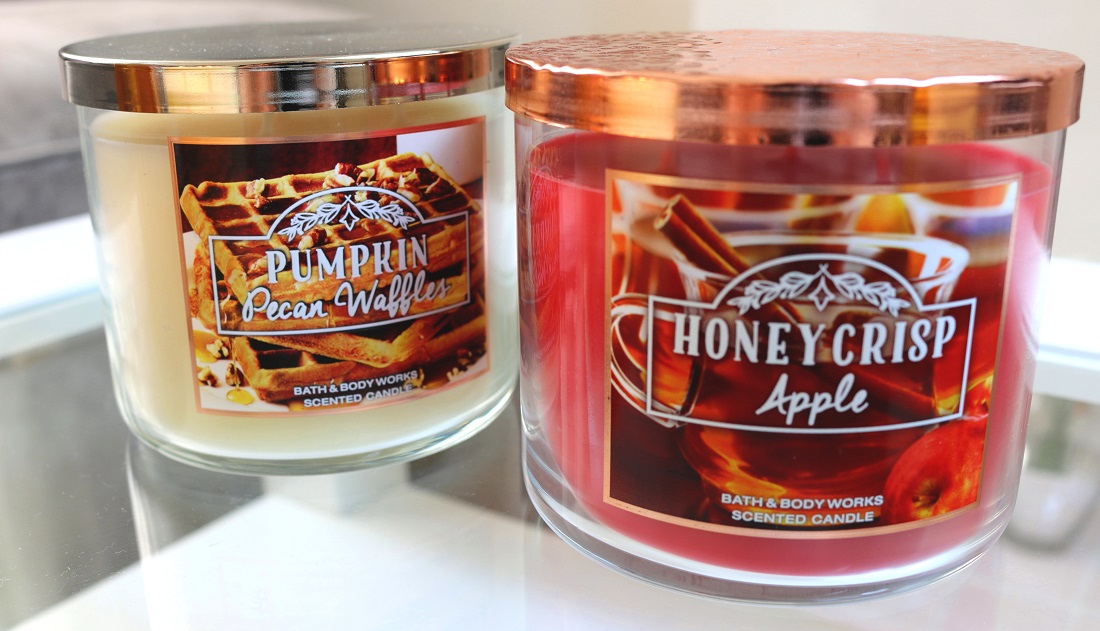Bath And Body Works Autumn Haul Pumpkin Pecan Waffles 3-Wick Candle and Honeycrisp Apple 3-Wick Candle