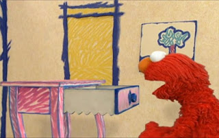 The Drawer comes in, moving like a saw, and then throws Elmo away. Sesame Street Elmo's World Building Things Quiz