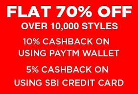 Jabong: Flat 70% Off on Clothing, Footwear & Accessories + Extra 10% Paytm Cashback