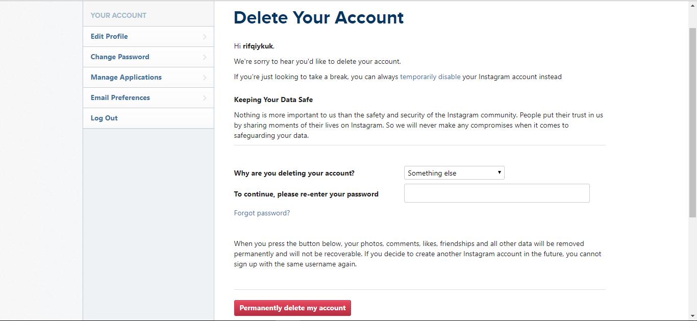 Cara Deactive Atau Menghapus Permanen Akun Instagram Panduanit