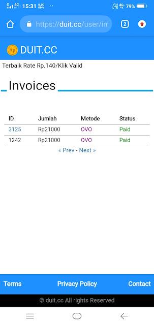 invoice atau sejarah pembayaran shortlink duit cc saya