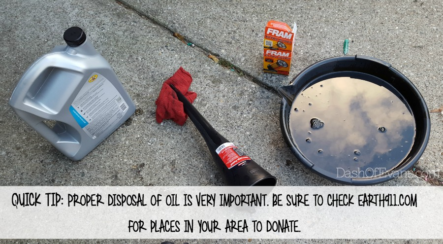 Diy date night how to change your oil dash of evans for How do you dispose of motor oil