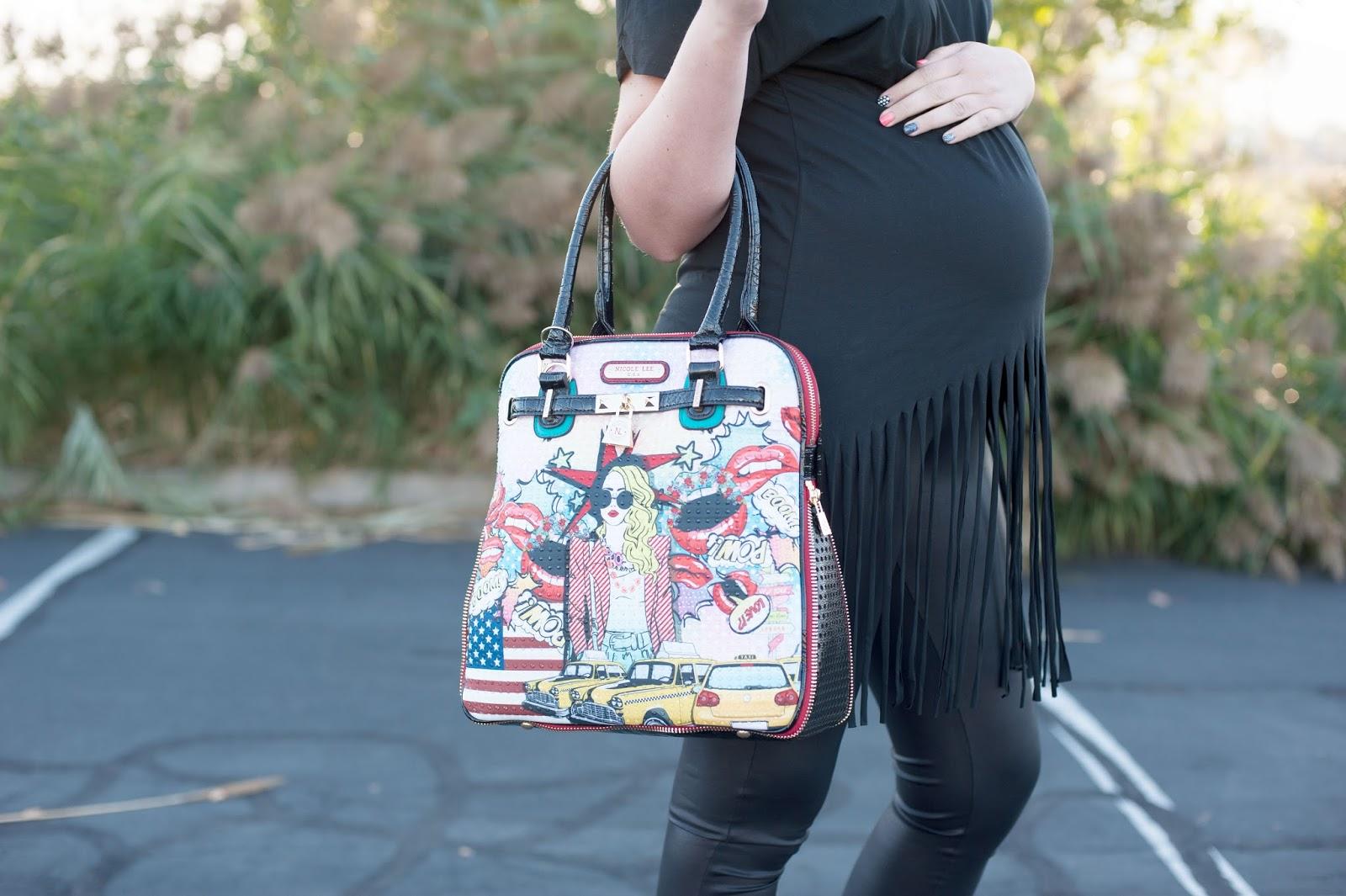 Nicole Lee, Pop Girl Print Satchel Bag, Fringe