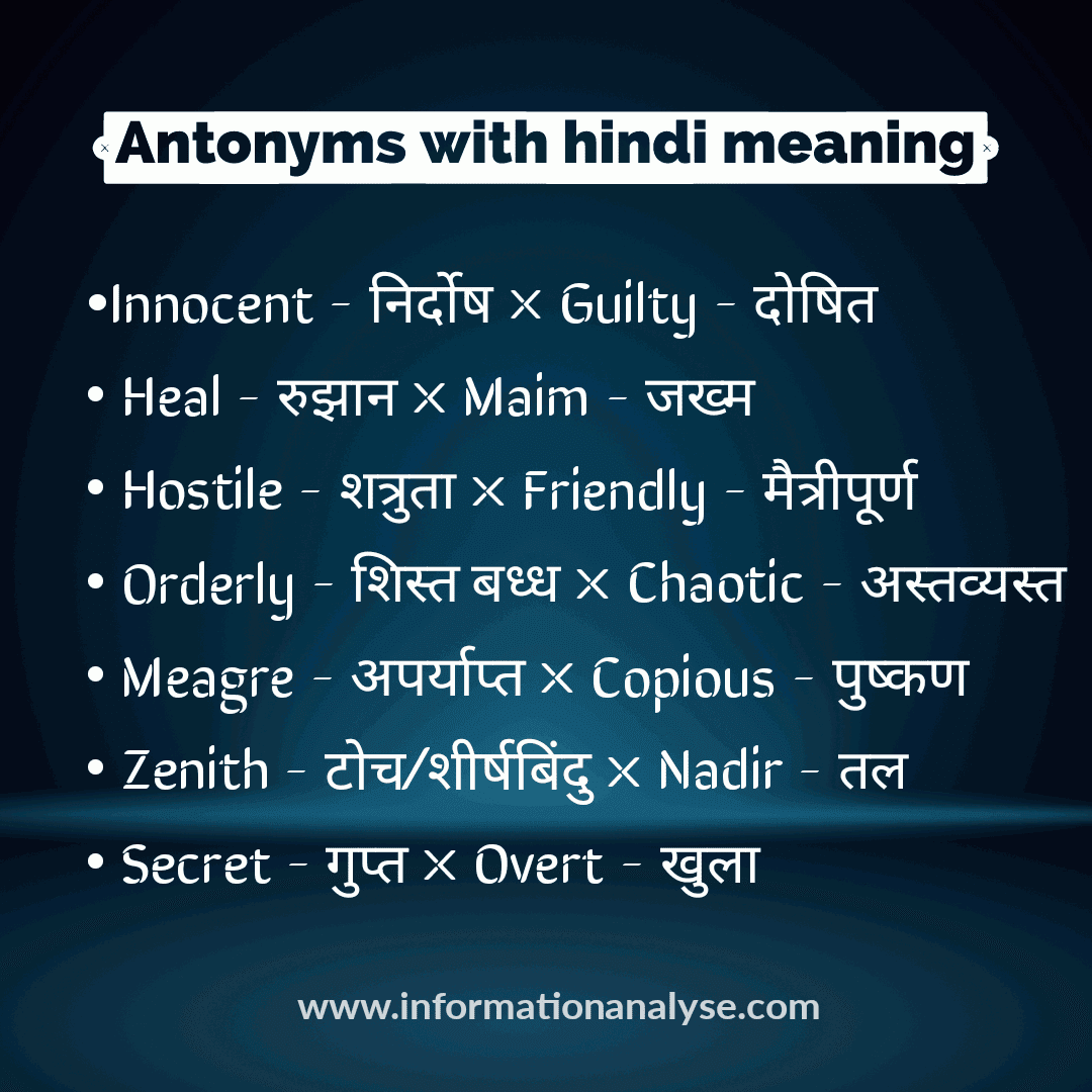Antonyms with hindi meaning
