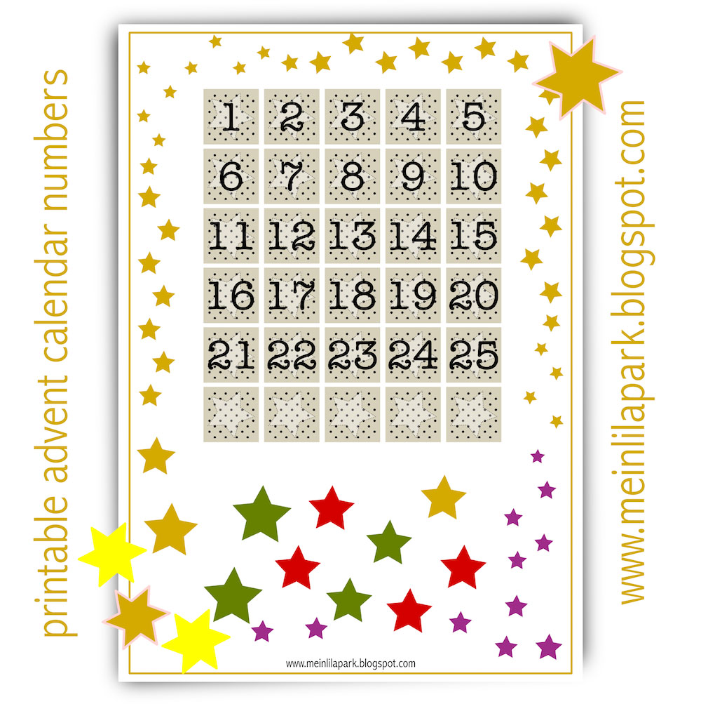 photo about Advent Calendar Numbers Printable titled No cost printable arrival calendar figures - ausdruckbarer