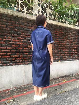 小眾生活壓線大口袋單寧藍洋裝老幫手實穿