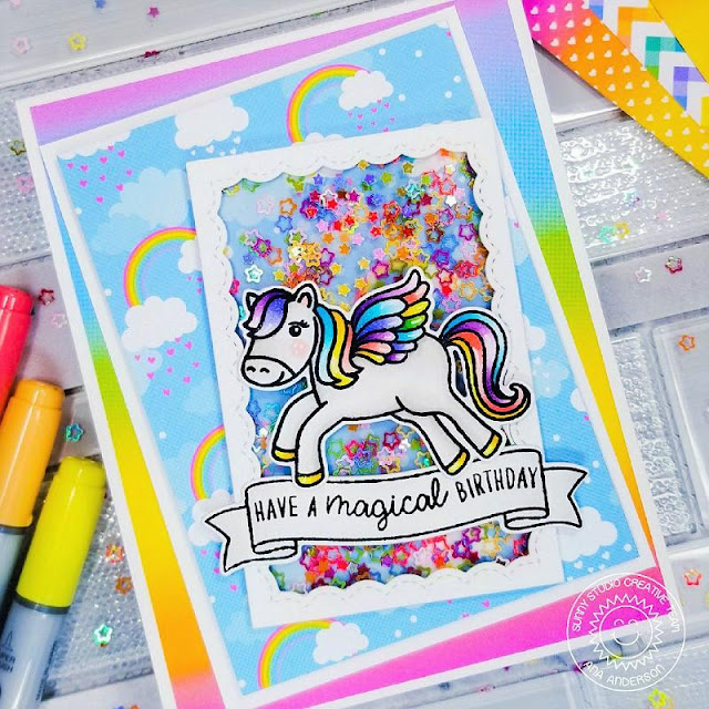 Sunny Studio Stamps: Prancing Pegasus Banner Basics Fancy Frame Dies Birthday Shaker Card by Ana Anderson