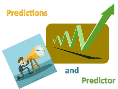 Picture shows a predictor with a telescope and a gazing at a climbing graph