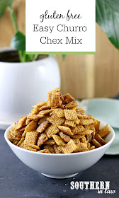 Easy Churro Chex Mix Recipe - Gluten Free Chex Mix in white bowl with grey marble background