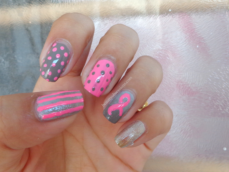 Pink Ribbon Nail Art Inspired By Breast Cancer Awareness ...