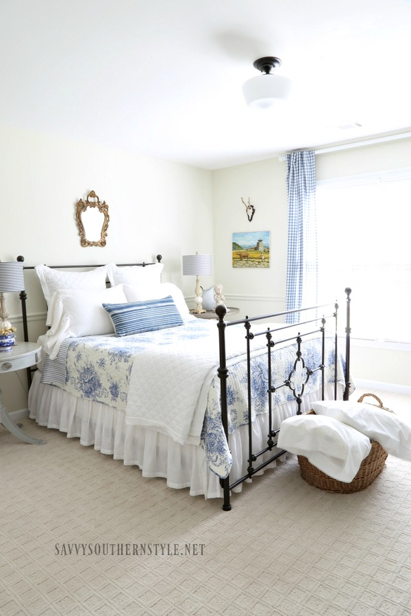 blue and white French style guest bedroom for summer