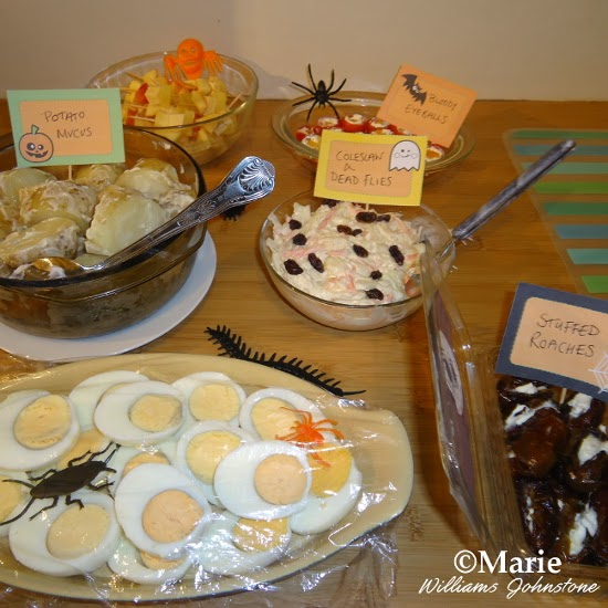 Novel and fun buffet party food selection for October 31st