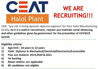 CEAT Tyre Ltd. Tyre Manufacturing Company Recruitment For Diploma Engineers for their Halol Manufacturing Plant