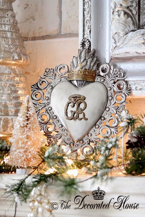 The Decorated House ~ Christmas Decor Decorations. A pretty Ex Voto for White with Mercury Glass and Silver 2013