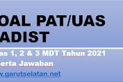 Soal PAT/UAS HADIST Kelas I, II, dan III MDT Tahun 2021 Beserta Jawaban