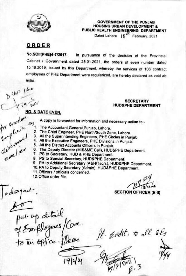 ORDERS REGARDIN REGULARIZATION OF 106 CONTRACT EMPLOYEES OF PHE DEPARTMENT DECLARED AS INVALID