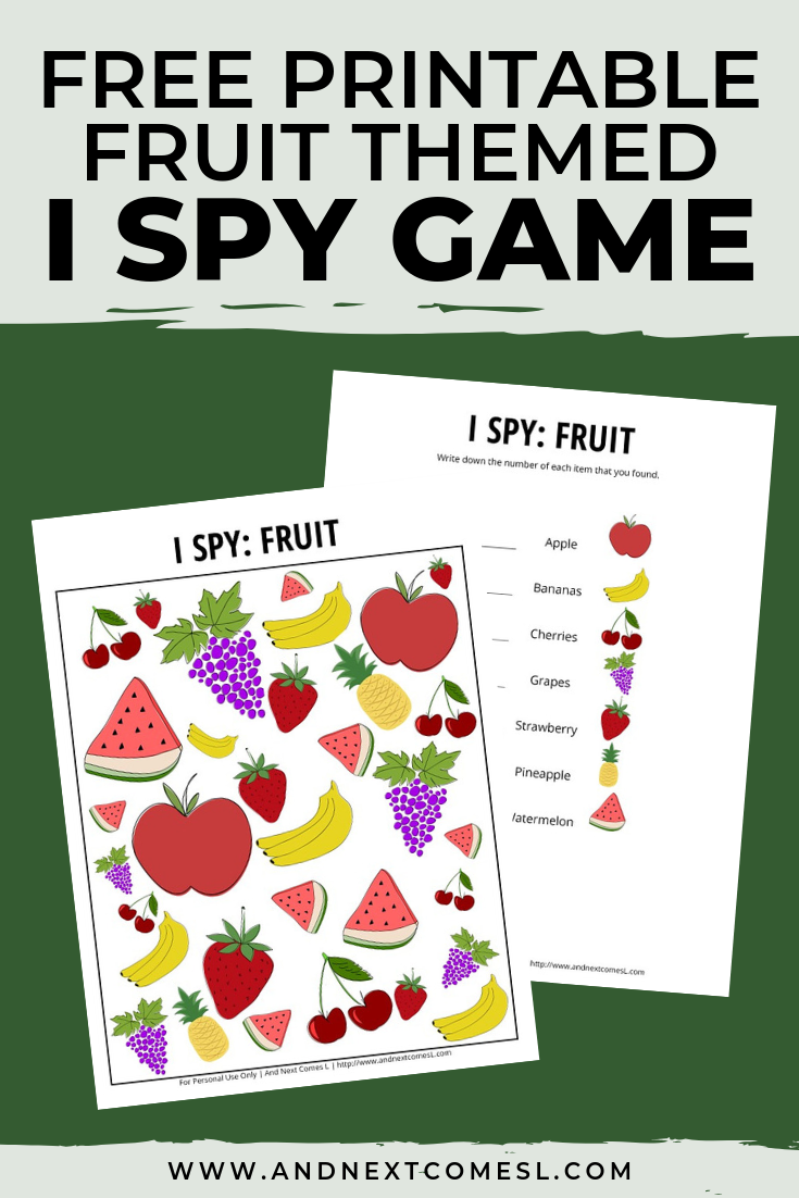 Free I spy game printable for kids: fruit themed