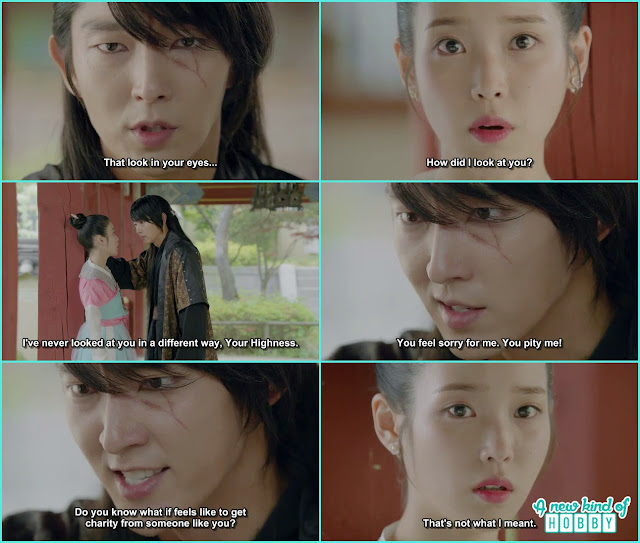 4th Prince ask hae so to look into his face then got angry by himself thinking every one pit him  - Moon Lover Scarlet Heart Ryeo - Episode 8 - Review